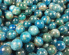 4mm Natural Blue Apatite Smooth Round Beads