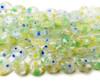 10mm Green Blue Yellow Flowers Millefiori Glass Coin Beads