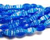 8x14mm Blue With White Stripes Millefiori Glass Twist Beads