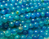 8mm Sea Blue Translucent Agate Faceted Round Beads