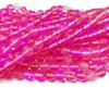 10mm Fuchsia Pink Moonlight Crystal Matte Round Beads