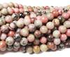 8mm Mongolian Rhodonite Smooth Round Beads
