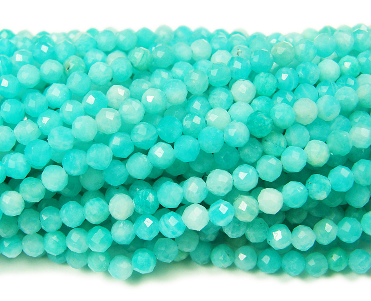 Natural 3mm Finely Cut Amazonite Faceted Beads Genuine Gemstone