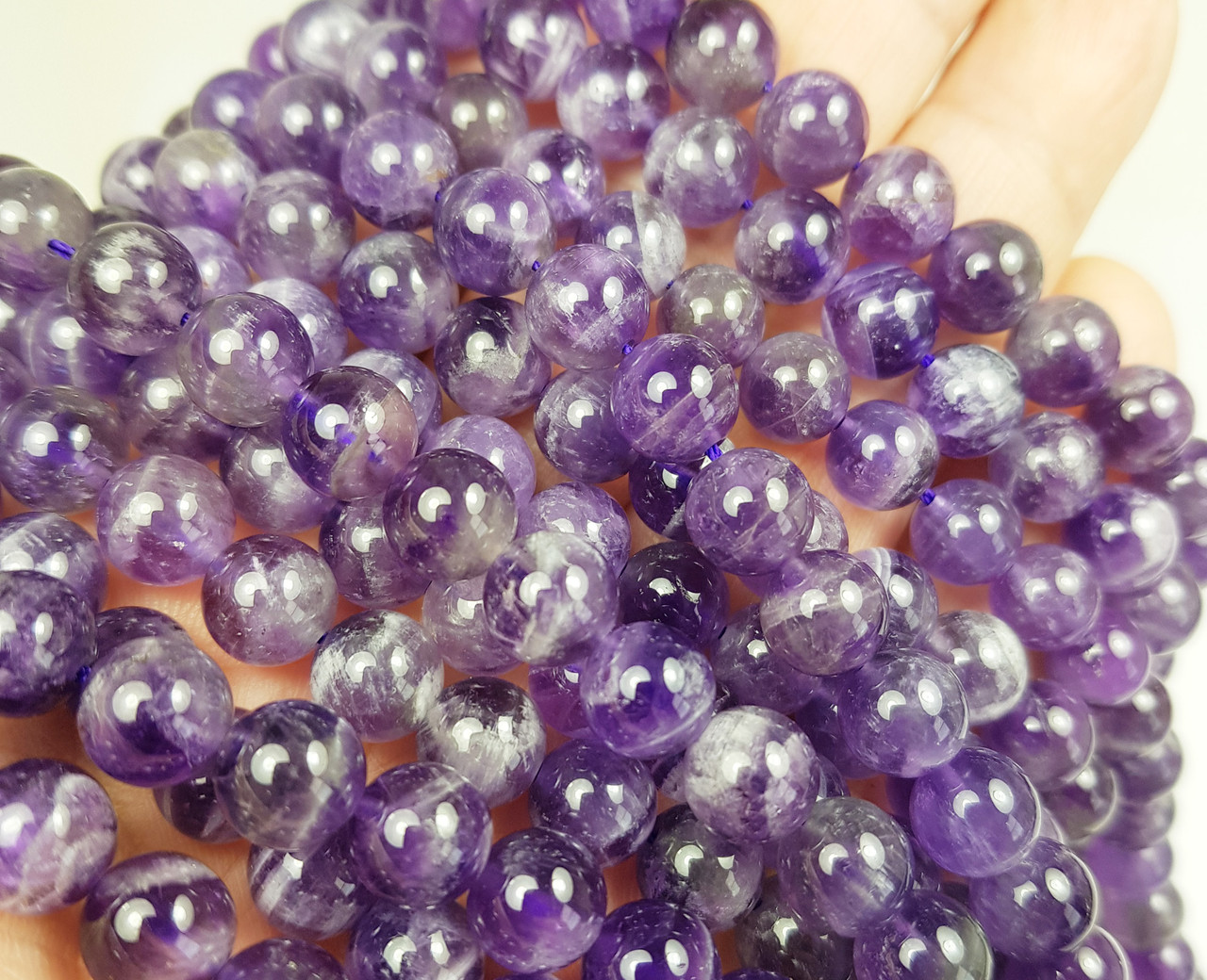 Brand New Amazing Item at Low Price 7-7.5mm Size AMETHYST Purple Chalcedony Smooth Round Balls,Full 14 Inch Strand