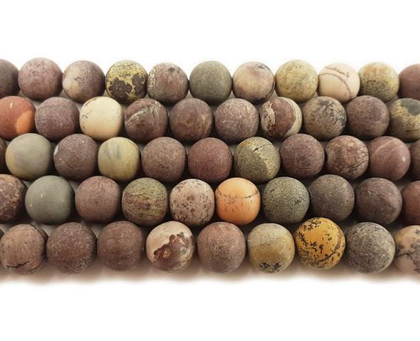 10mm Flower Jasper Matte Round Beads