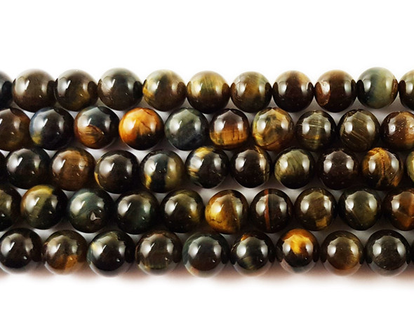 6mm Blue/Yellow Tiger Eye Round Beads