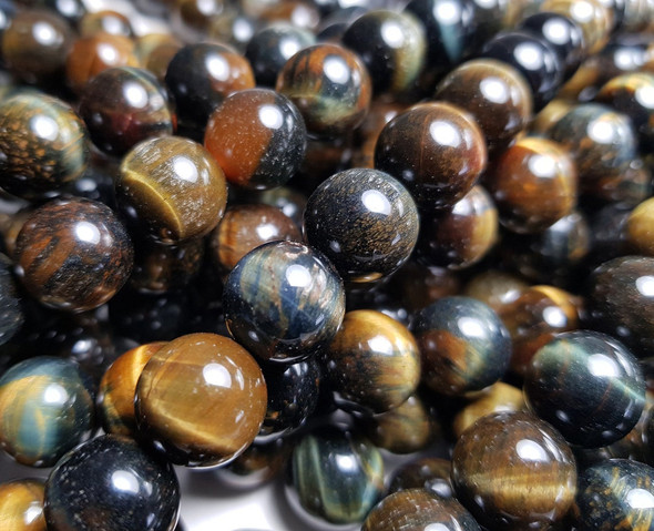 8mm Blue/Yellow Tiger Eye Round Beads