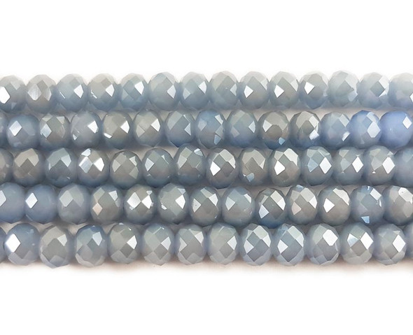 """8x10mm  72 beads  22"""" Dusty blue glass faceted rondelle beads"""