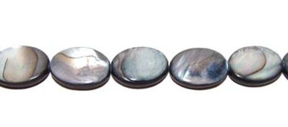 17x24mm Mother of pearl flat oval beads, dark gray/black color