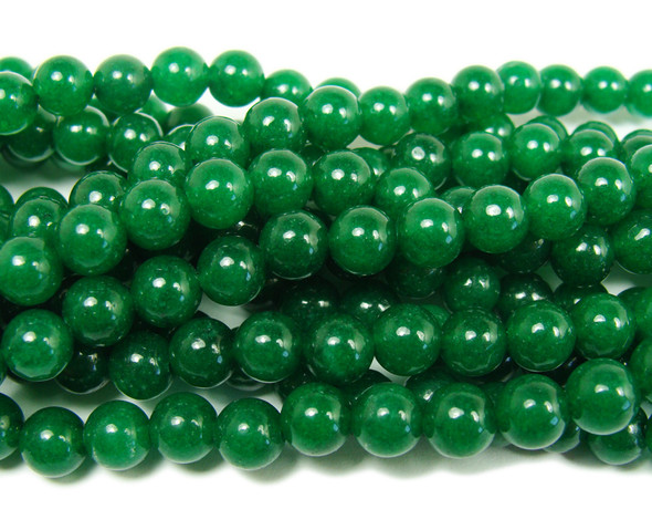 Emerald green jade smooth round beads
