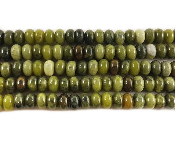 5x8mm Taiwan Green Jade Smooth Rondelle Beads