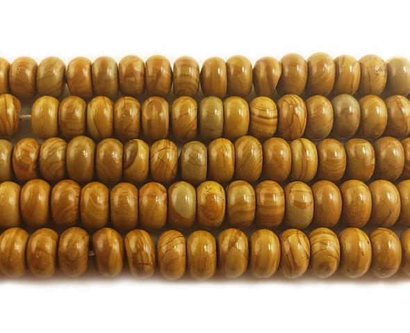 8x12mm Scene jasper smooth rondelle beads