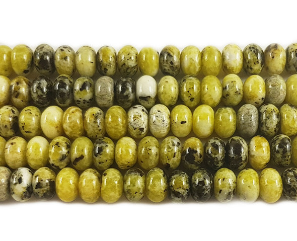 6x10mm Yellow turquoise smooth rondelle beads