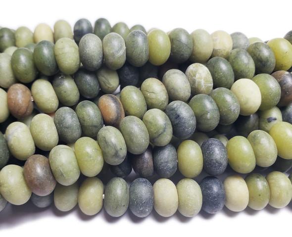 5x8mm Taiwan Green Jade Matte Rondelle Beads