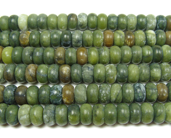 6x10mm Taiwan green jade matte rondelle beads