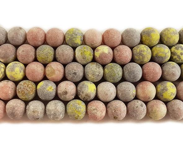 10mm Plum Flower Jasper Matte Round Beads