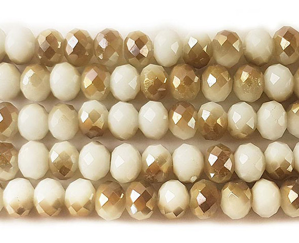 """8x10mm  72 beads  22"""" Cream and gold glass faceted rondelle beads with AB finish"""