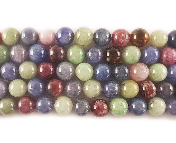 8mm Multi color ruby tanzanite and sapphire round beads