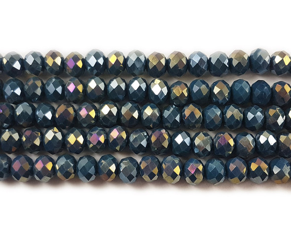 6x8mm Dark sea blue glass faceted rondelle beads with AB finish