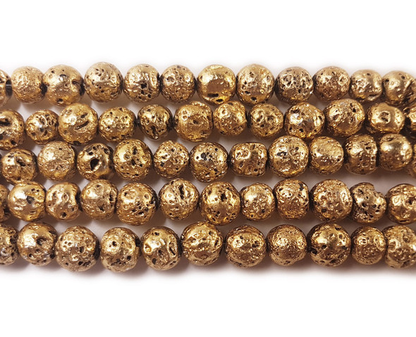 8mm Bronze gold metallic lava round beads