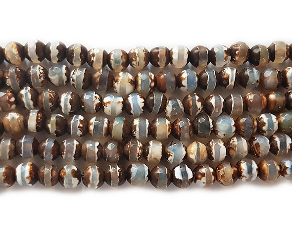 4mm Tibetan Agate Brown Striped Faceted Round Beads