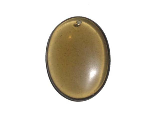 Glass Oval Pendant 30x40mm Smoky Quartz Oval Pendant