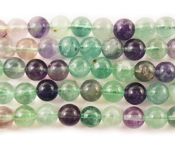6mm Rainbow fluorite round beads