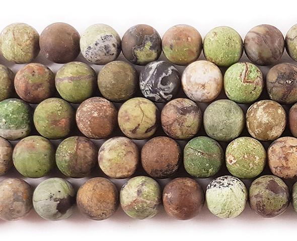 10mm African green opal matte round beads