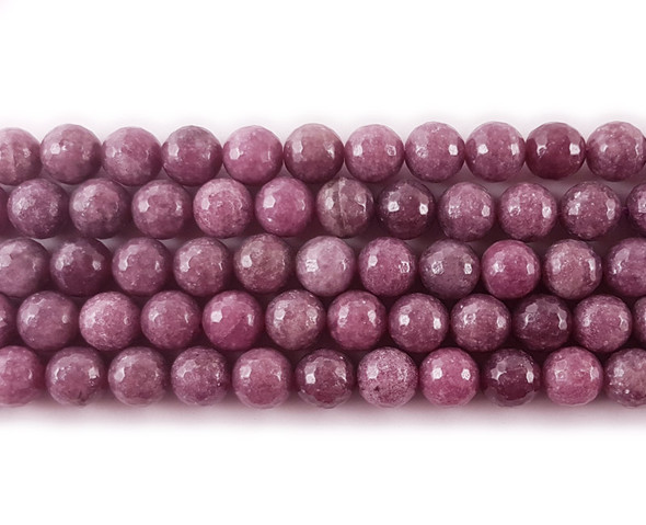 4mm Lepidolite Faceted Round Beads