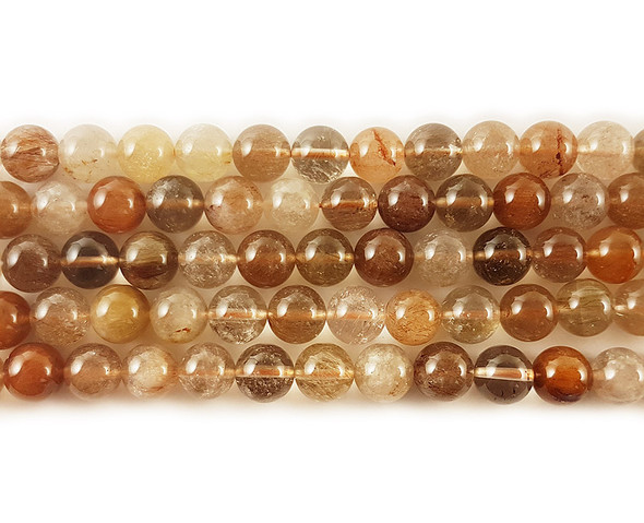6mm Brown rutilated quartz round beads