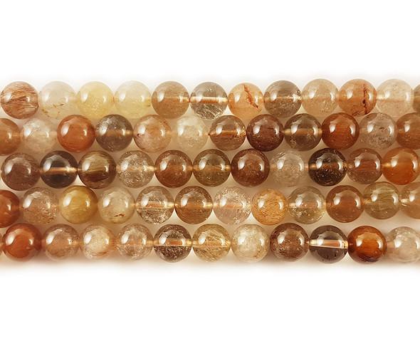 8mm Brown Rutilated Quartz Round Beads