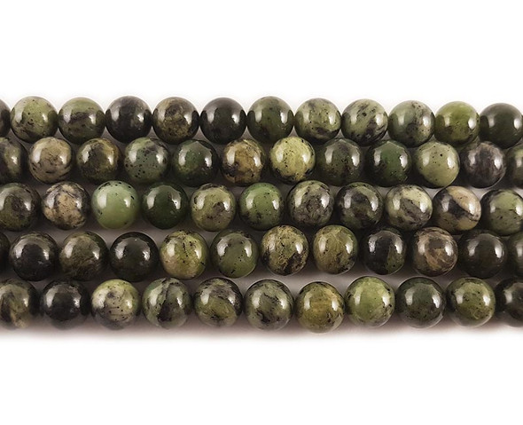 10mm Dendritic Green Jade Round Beads