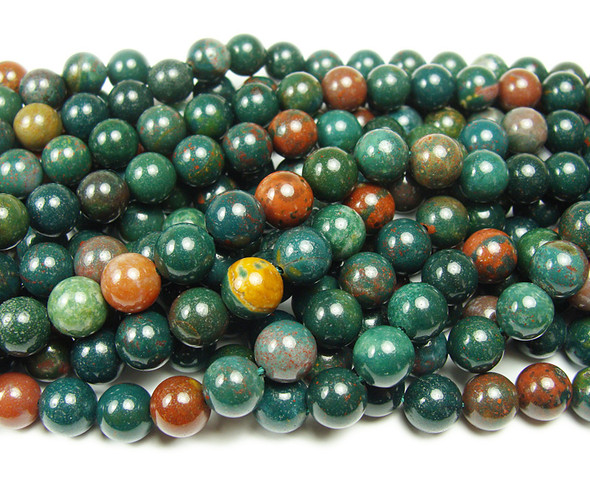 10mm Bloodstone smooth round beads