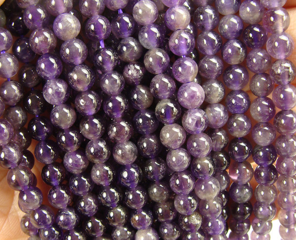 6-6.5mm  Amethyst smooth round beads