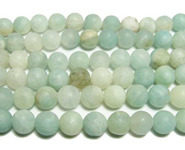 8mm  15.5 inches Aquamarine matte round beads