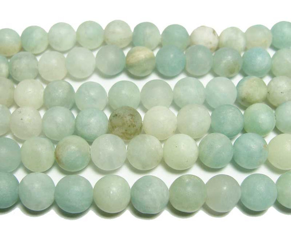 8mm 15.5 Inches Aquamarine Matte Round Beads