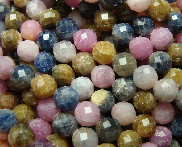 Ruby sapphire faceted round beads