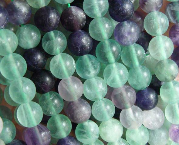 12mm  15.5 inches Rainbow fluorite matte round beads