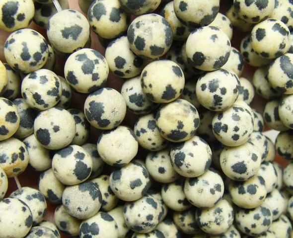6mm 15.5 Inches Dalmatian Jasper Matte Round Beads