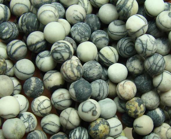 12mm  15.5 inches Black web jasper matte round beads