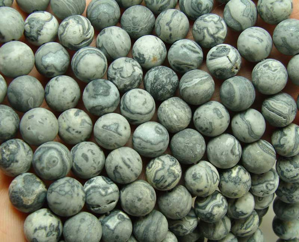 6mm 15.5 Inches Gray Picture Jasper Matte Round Beads
