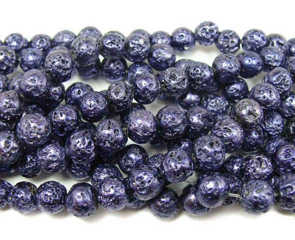 8mm  15 inches Dark purple metallic lava round beads