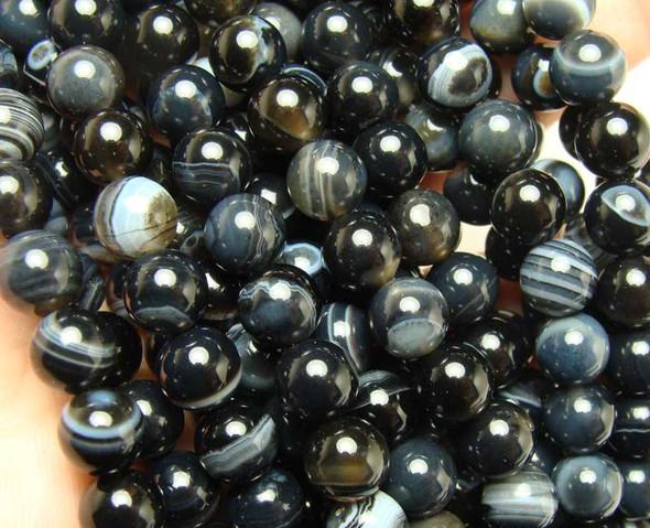 "6mm 15.5"" Grayish Black Striped Agate Round Beads"