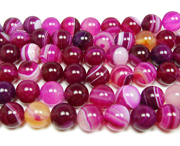 12mm 15.5 Deep Pink Striped Agate Plain Round Beads