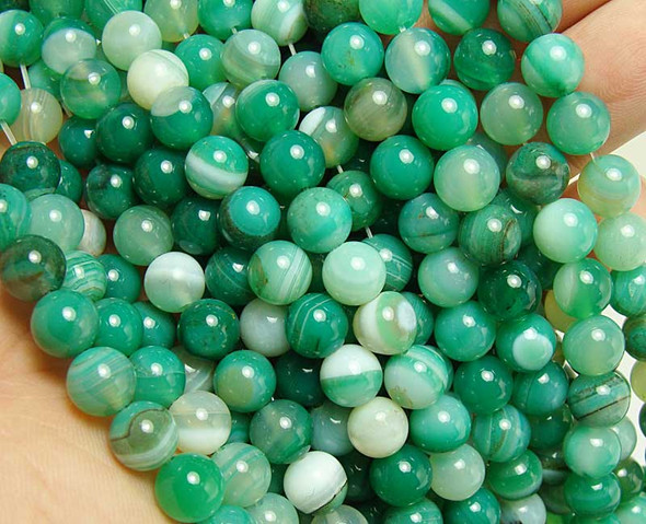 10mm  15.5 inches Light green striped agate round beads