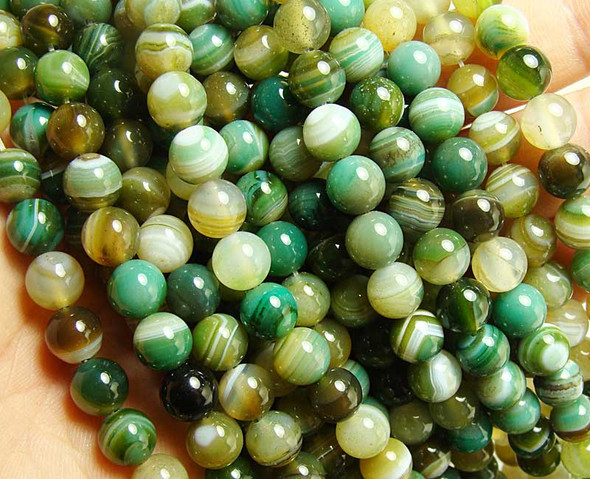 "8mm 15.5"" Dark Sea Green Striped Agate Round Beads"