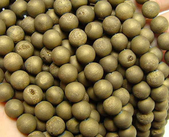 10mm Bronze Electroplated Druzy Agate Round Beads