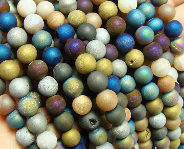 "10mm  15.5"" Multi color electroplated druzy agate round beads"