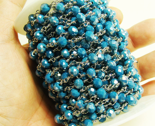 5x6mm Priced For One Foot Sapphire Blue Beads With Silver Chain