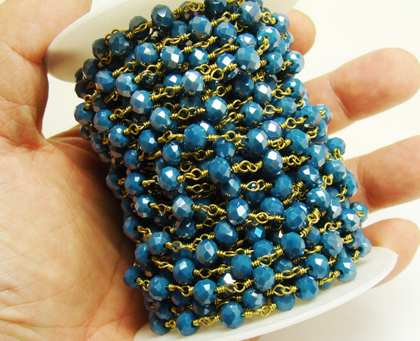 5x6mm Priced For One Foot Sapphire Blue Glass With Brass Chain